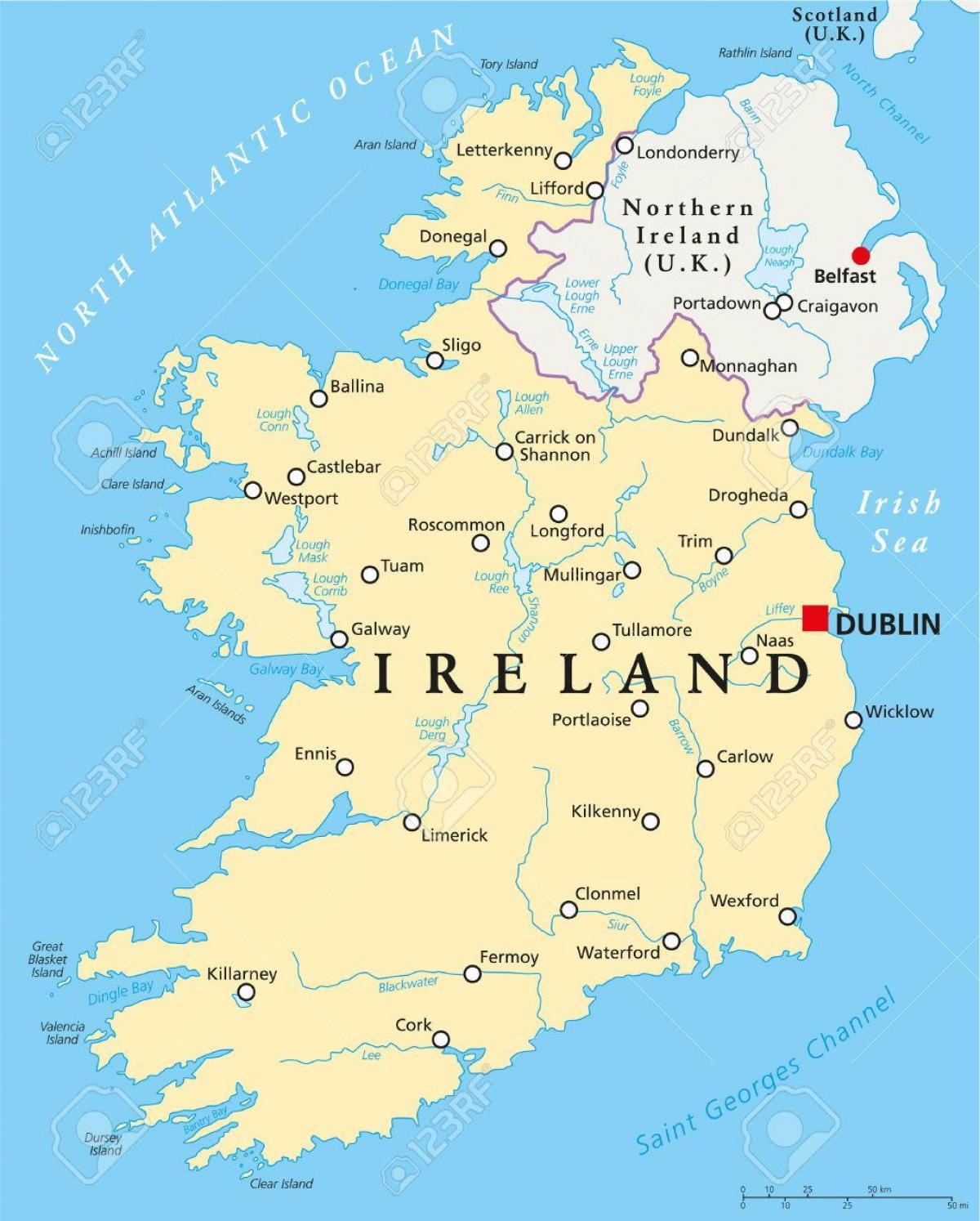Dublin Irlanda Harta Dublin Arată Hartă Ireland Irlanda