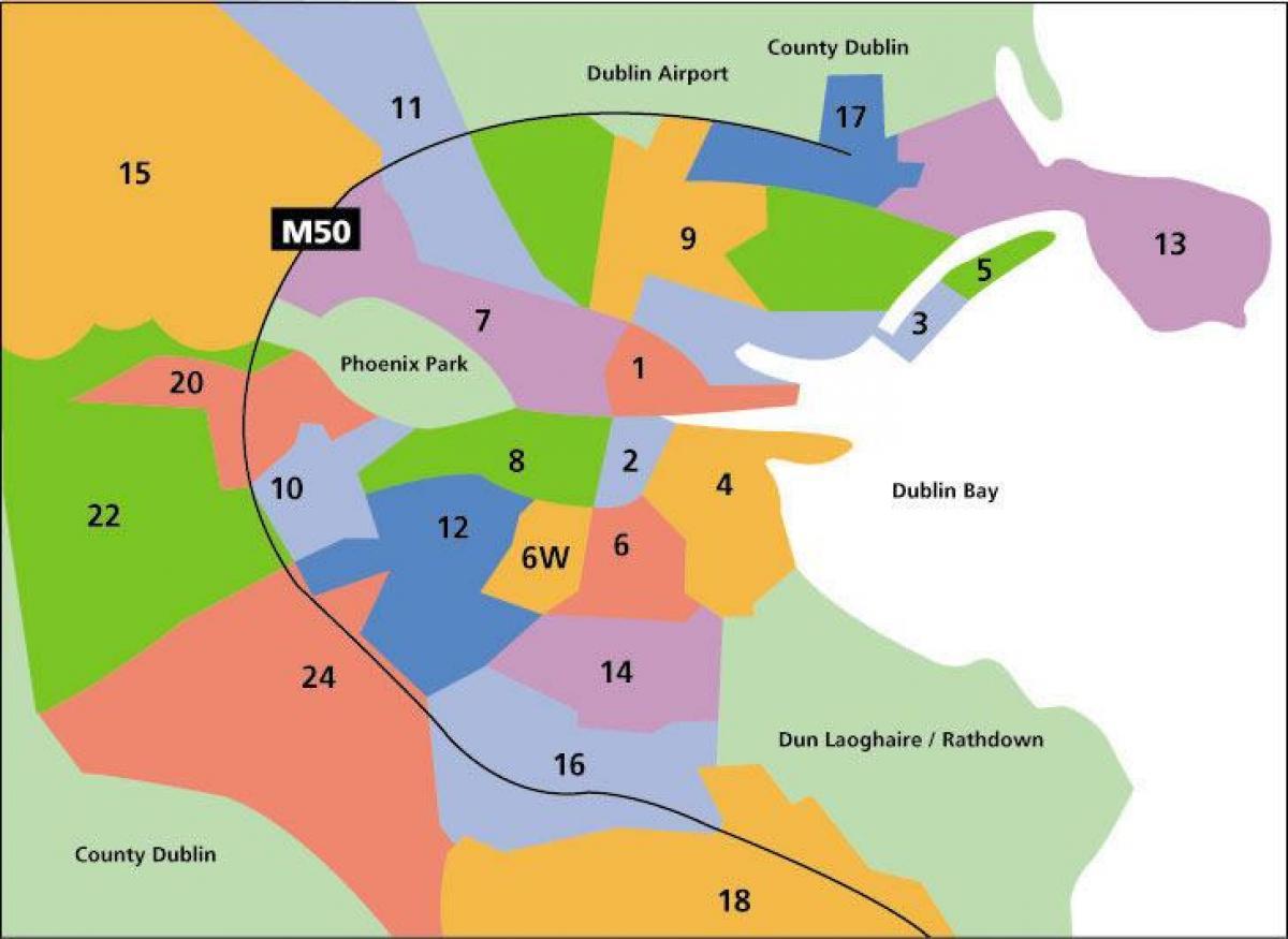 Dublin Zone De Pe Hartă Harta Dublin Zone Irlanda